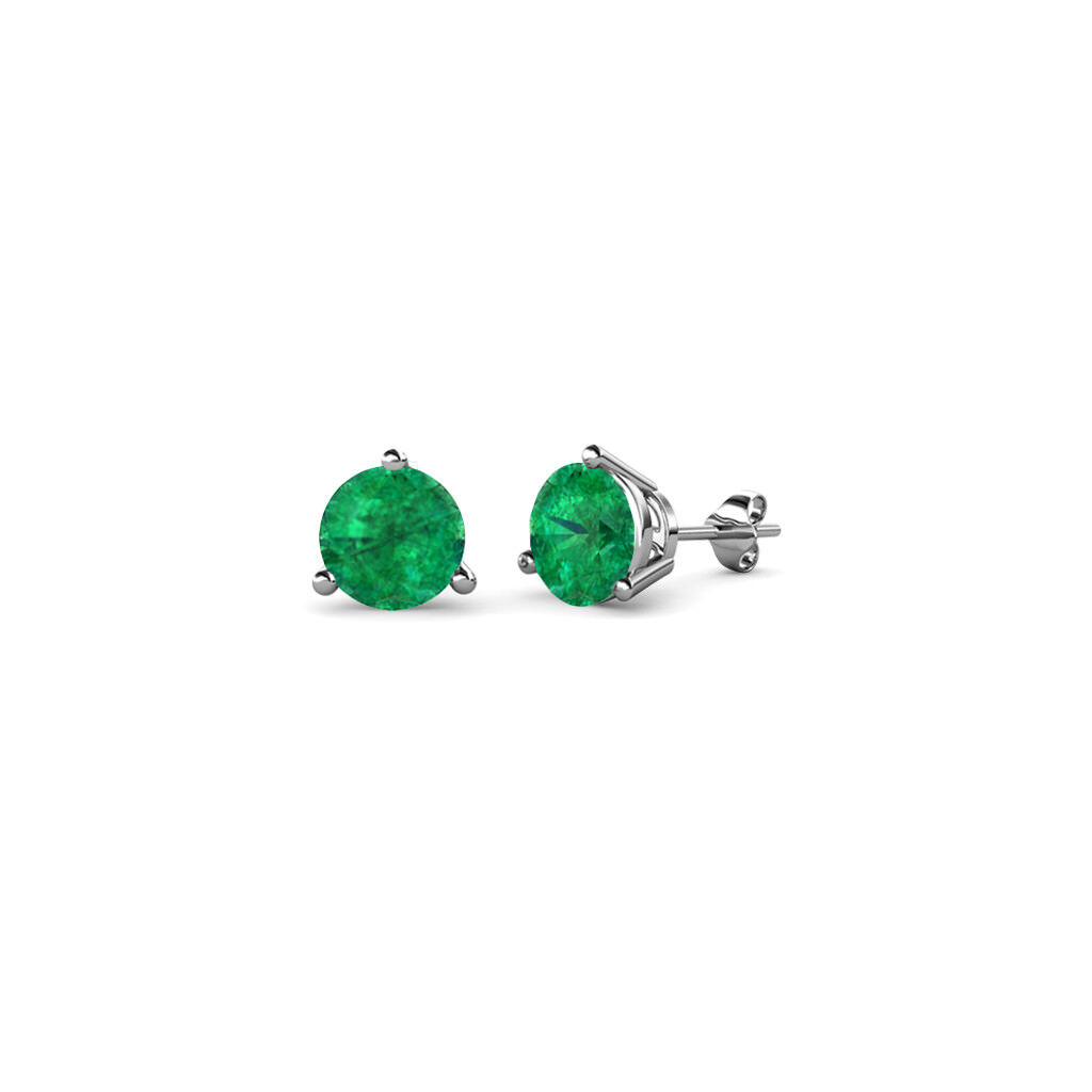 Emerald 4mm 3 Prong Solitaire Womens Stud Earrings 0.40 ctw 14K gold JP 63629