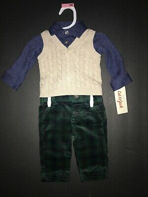 Newborn NB Pant /& Plaid Bodysuit Set Cat /& Jack Baby Boys/' 3 Piece Vest