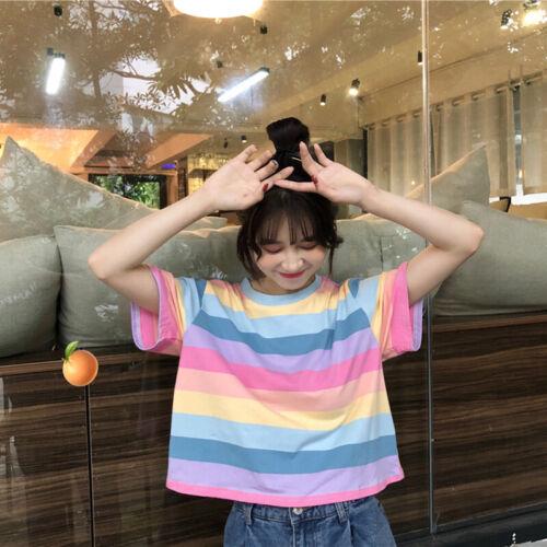 Women Stripe Tshirt Loose Rainbow Tees Short Sleeve Tops Baggy T Shirts TeeL B1