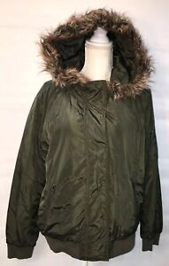 Womens Faux Fur Trim Lined Hooded Full Zip Toggle Buttons Winter Jacket Coat