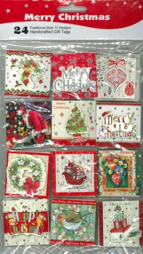 3D Glitter 24 Pieces Gift Tags Self Adhesive Stickers Christmas Xmas Present X