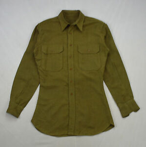 vintage wool gaberdine olive green military oxford button