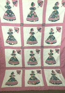 Vintage-Quilt-Queen-Size-Sunbonnet-Sue-Umbrella-Homemade-Hand-Stitched-with-Lace