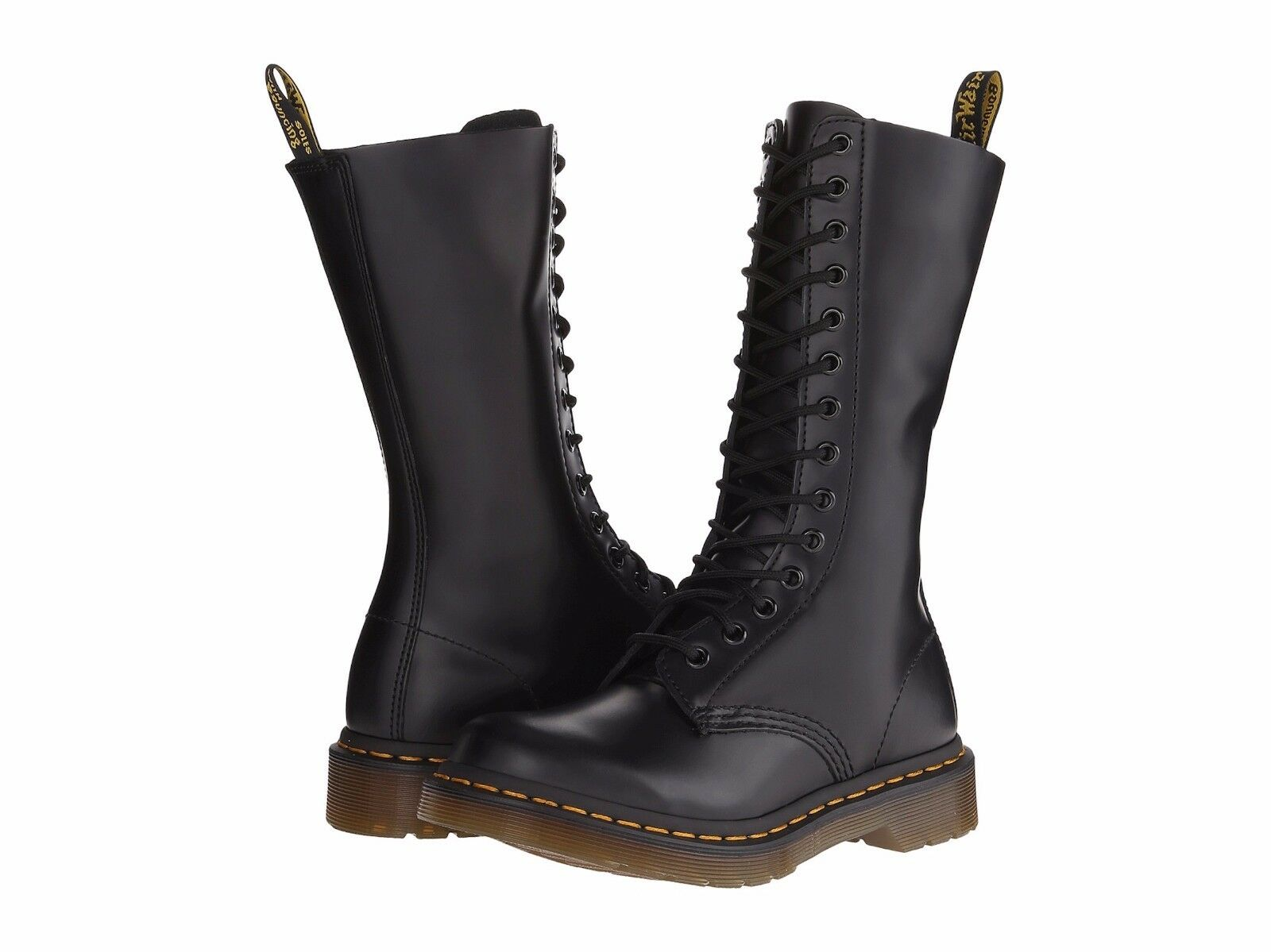 Dr. Martens 1914W Women's Women's Women's Black Smooth Leather Boots 14 Eye Lace-Up NEW Sz 5 & 6 696137