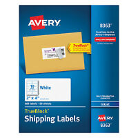 Avery Shipping Labels W/ultrahold Ad & Trueblock Inkjet 2 X 4 White 500/box 8363 on sale
