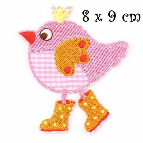 ÉCUSSON PATCH Oiseau humoristique carreau vichy rose applique brodée bottes
