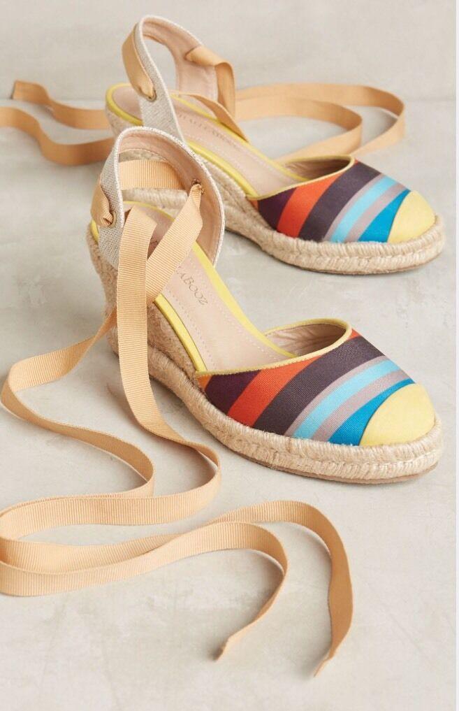 NEW Anthropologie Moaveni Wedge Espadrilles Sandals Heels Size 37 US 8