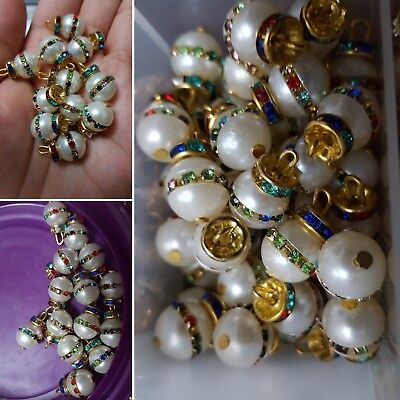 """3//8/"""" Shank Pearl Bridal Wedding Gowns Accessories 10mm Ivory Pearls Buttons"""