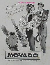 PUBLICITE ORIGINALE MONTRE MOVADO DESSIN SIGNE BRENOT DE 1947 FRENCH AD WATCH