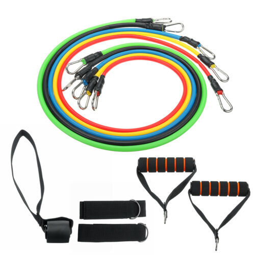 NEW RESISTANCE BANDS WORKOUT EXERCISE YOGA 11 PIECE SET FITNESS TUBES W//