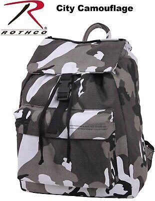OD Green Canvas Military Day Pack Backpack Knapsack Rucksack School Bag 2169