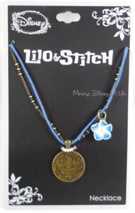 New Disney Lilo Stitch With Hibiscus Flower Charm Pendant Necklace