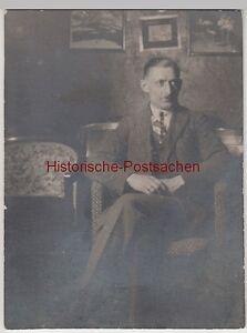 (f13229) Orig. Photo Monsieur Assis Dans Fauteuil 1920er-afficher Le Titre D'origine Doux Et AntidéRapant