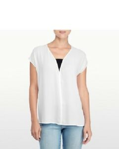 NEW-NYDJ-Women-039-s-Mesh-Insert-Top-Blouse-Optic-White-Size-LARGE