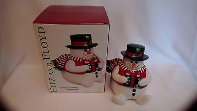 Fitz and Floyd Holiday Snowman Lidded Box Original Box