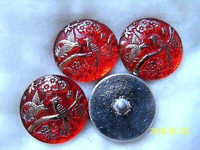 1 Czech Crystal Glass Button #B315 XXLarge-SPARKLING 24 CR GOLD  PEACOCK