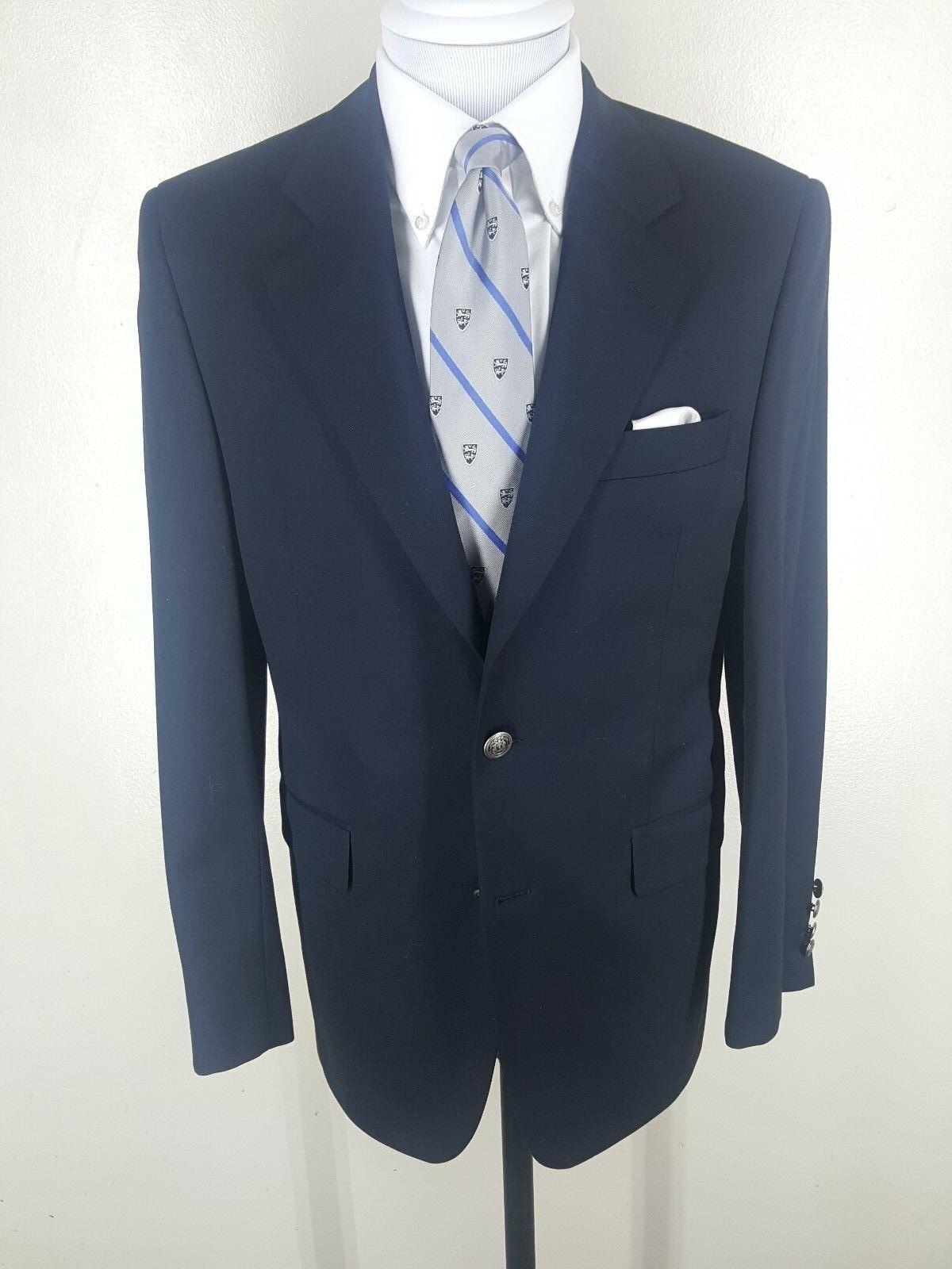 Barneys NY  Recent Blau Blazer 4 Season 100%  Wool 2 Btn Center Vent  36 Short