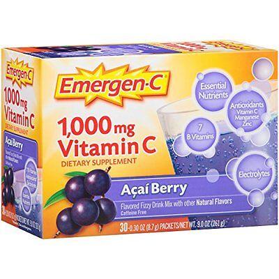 Emergen-C Pink 1000 Mg Vitamin C Supplement Acai Berry 30 Packets