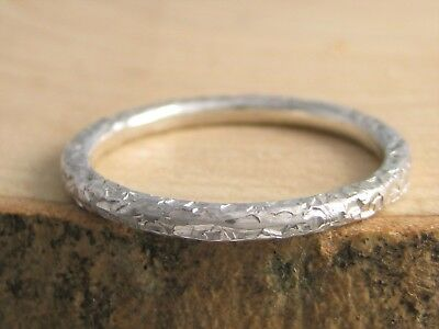 Five 1.5mm Sterling Silver Sparkly Hammered Stacking Rings H-Z Handmade In UK