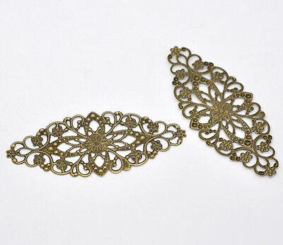 Wholesale Lots Bronze Tone Filigree Flower Wraps Connector 8x3.5cm