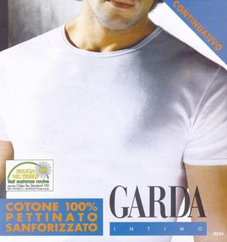 MAGLIE UOMO MANICA CORTA GIROCOLLO 100/% COTONE GARDA 0024 BIANCO SET 6 PZ