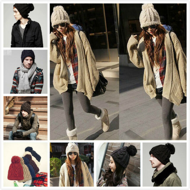 New Womens Mens Winter Warm Knit Beanie Cap Hat Crochet Ski Baggy Knit Beany hat