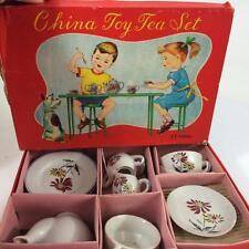 1950's Japan Child Doll Toy Tea Set 17 pc China Flower Pattern Orig Litho Box