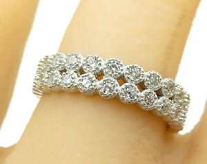 925-Sterling-Silver-Vintage-Stacked-Cubic-Zirconia-Encrusted-Band-Ring-R4124
