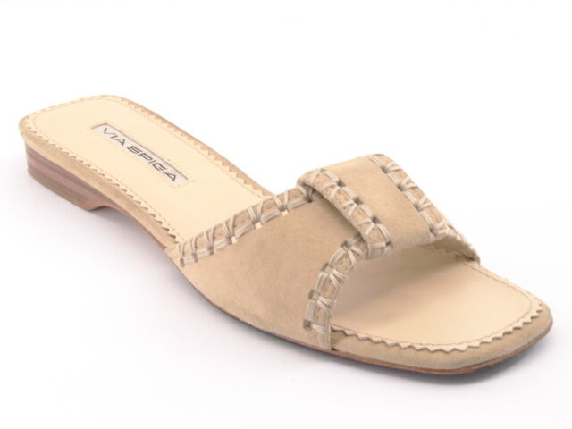VIA SPIGA Women Suede Slide Flip Flop Open Toe shoes Sz 7 M