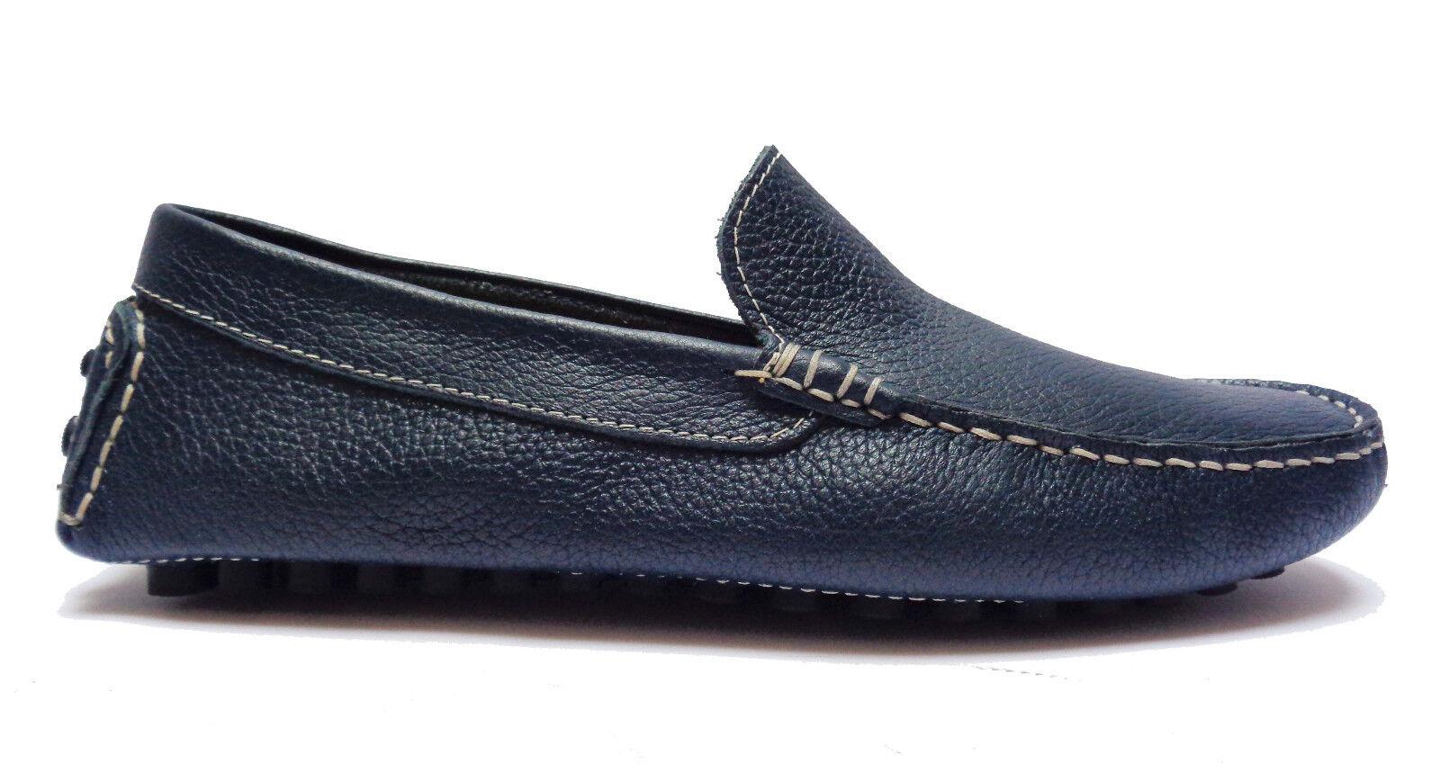 Antica Cuoieria 20109 Schuhe Men Mokassins aus Leder Blau Hintergrund mit Noppen