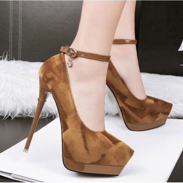Zapatos de Salón Mujer Alto Tacón 14cm Plataforma Beis Fashion Piel