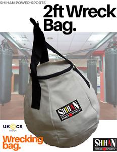 white WRECKING BALL PUNCH BAG BOXING BAG Boxing Martial Arts 2ft Round Punch B