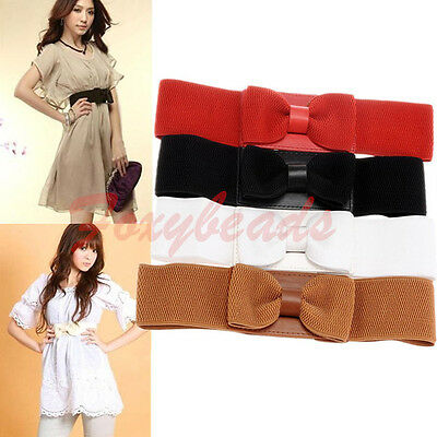 Elegant Women Hip High Waist Elastic Wide Large Bow Bowknot Belt Cinch 4 Colors