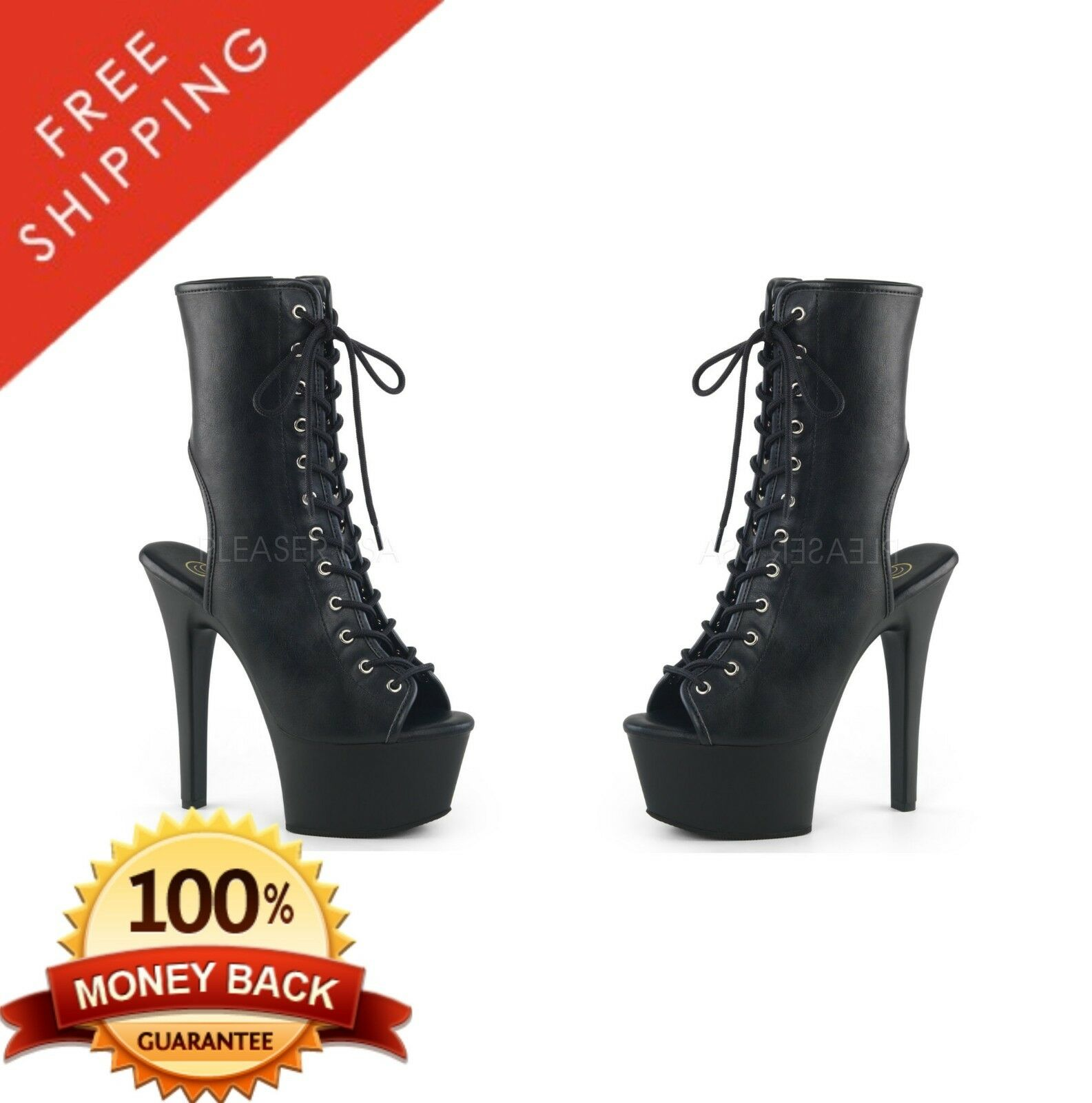 Pleaser ASPIRE-1016 Platform Open Toe Heel Lace-Up Front Ankle Boot 6  Heel