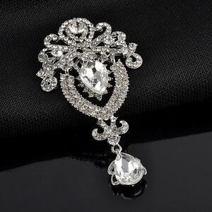 Silver-Fashion-Large-Crystal-diamante-Flower-Bridal-Brooch-Wedding-Broach-Pin