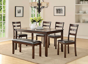6pc Rectangular Dark Oak Finish Wood Dining Table W Ladderback Chairs Bench Set Ebay
