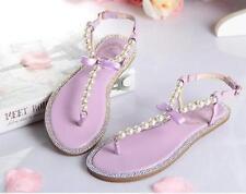 womens pearl wedding flats shoes rhinestone party beach sandal comfortable @CHIC
