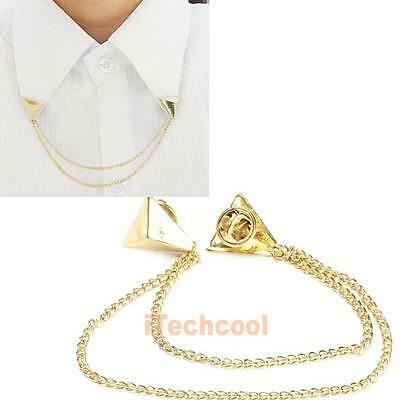 Hot Spike Stud Blouse Shirts Collar Neck Tip Brooch Pin Chain Punk