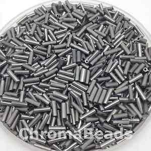 50g-glass-bugle-beads-Steel-Metallic-approx-6mm-tubes-jewellery-making