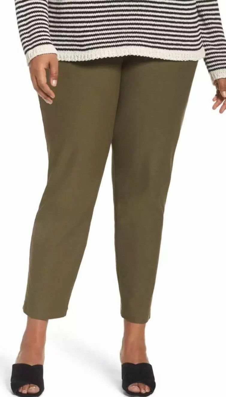 Eileen Fisher Olive Green Washable Stretch Crepe Pants 1X Slim Ankle NWT