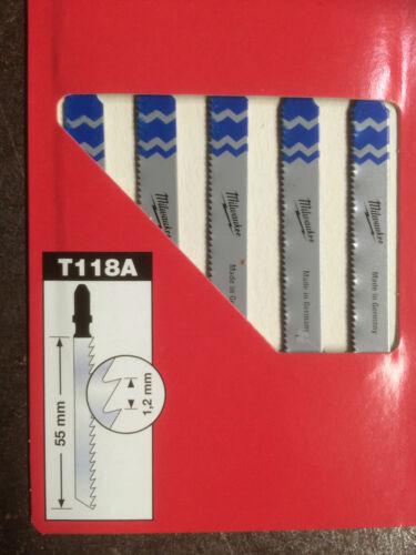 Milwaukee T118A Stichsägeblätter für Metall Pack a/' 5 Stück Sägeblatt Cu//Ni//Ms