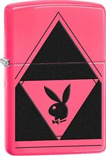 Zippo 2016 Catalog NEW PlayBoy Triangle Neon Pink Base Windproof Lighter 29063