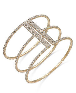 New-I-N-C-Rose-Gold-Tone-Crystal-Triple-Row-Flex-Bracelet-39-50-Tags-M50