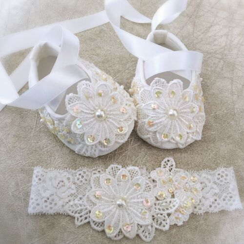 Baby Girl Off White Christening Shoes Baptism Shoes Lace Sequins Headband