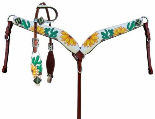 Showman  Sunflower and Cactus Print One Ear Headstall and Breastcollar Set.