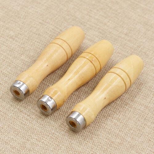 3x Holz Feile Griff Für Keramik Glas Schaft Hand Files Handwerkzeuge Neu DIY