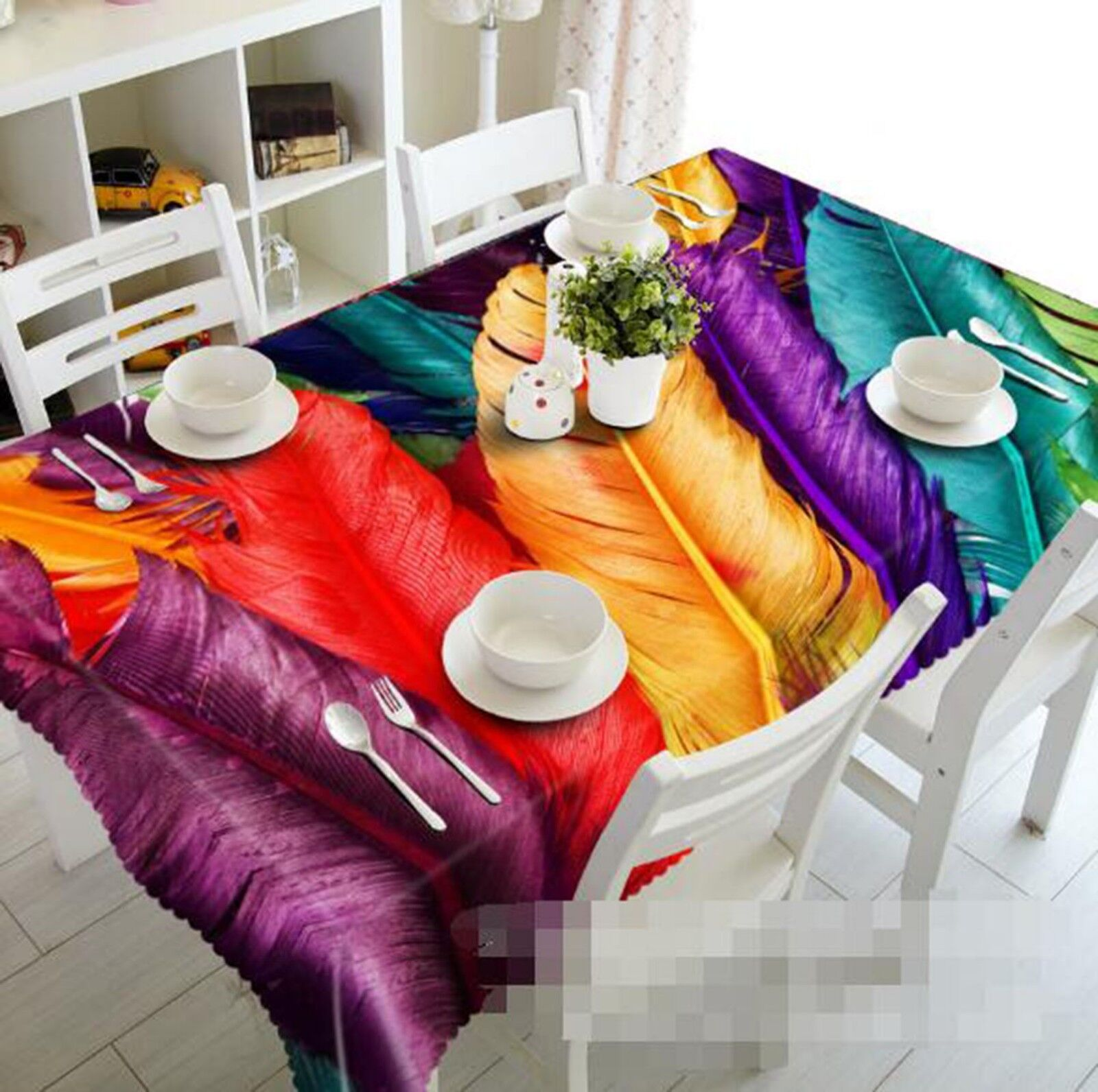 3D Couleur Feather 045 Tablecloth Table Cover Cloth Birthday Party Event AJ Lemon