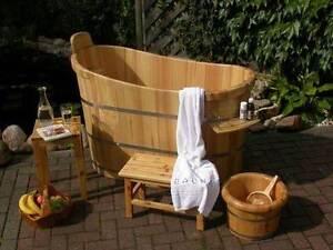 Turuo holzbadewanne holz badebottich zuber badezuber badewanne l 130cm ebay - Holzbadewannen freistehend ...