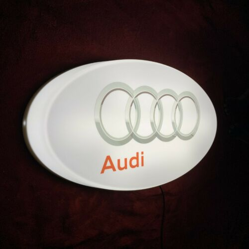 AUDI LED ILLUMINATED LIGHT UP GARAGE SIGN PETROL GASOLINE AUTOMOBILIA QUATTRO
