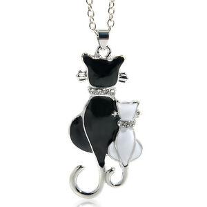 White-amp-Black-Mom-amp-Child-Cats-Pendant-Necklace-Fashion-Women-Charm-Gift